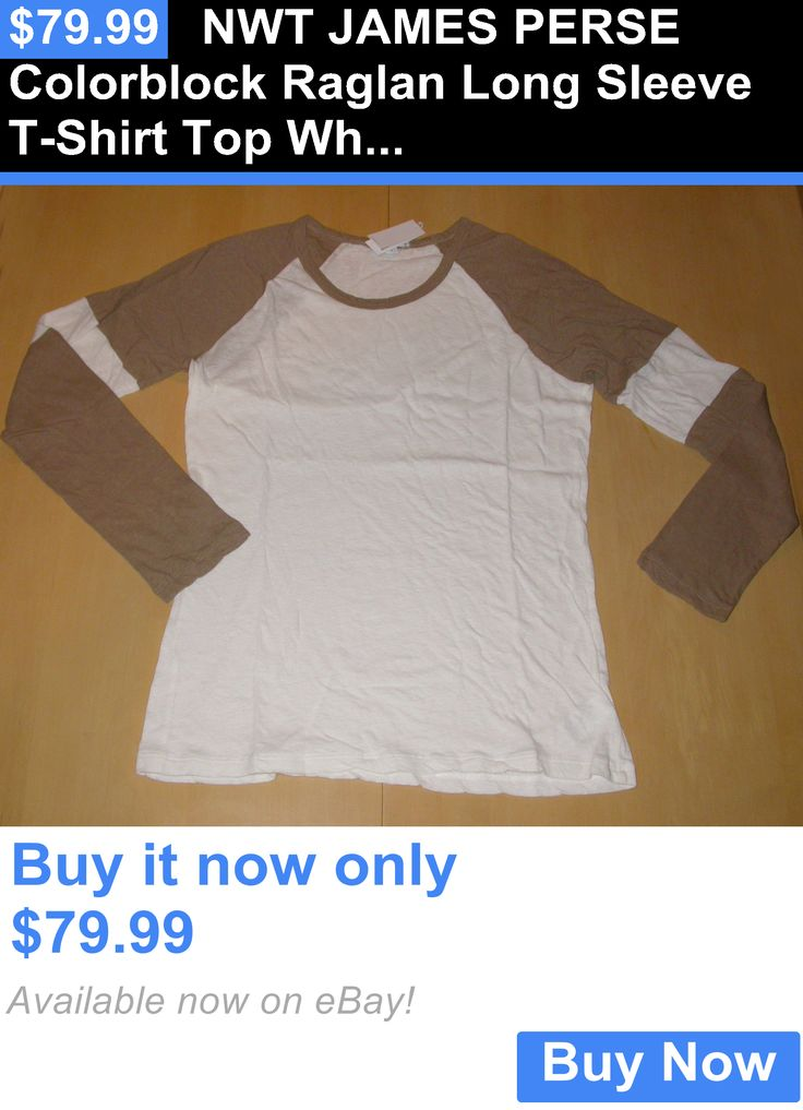 Women T Shirts: Nwt James Perse Colorblock Raglan Long Sleeve T-Shirt Top White Camel Sz 4 BUY IT NOW ONLY: $79.99