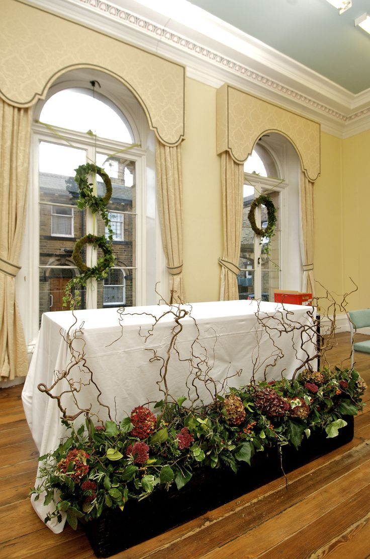 A dramatic floral focal point created by Floristry students and staff.
