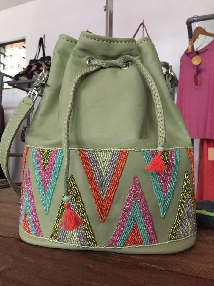 Secchiello in pelle decorazione perline  Wildsideshop@me.com