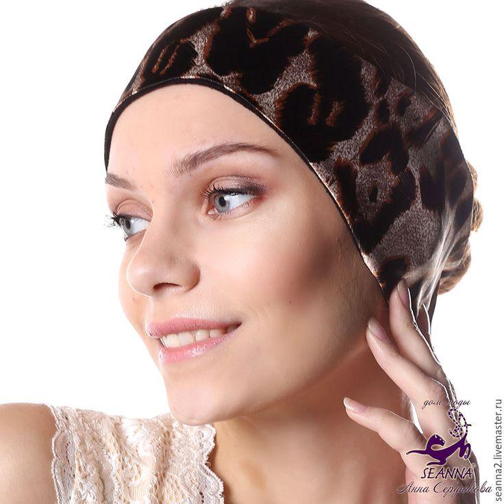 """Купить Полоска, повязка на голову утепленная на флисе """"Шелковый леопард"""" - повязка, полоска, полоска на голову"""