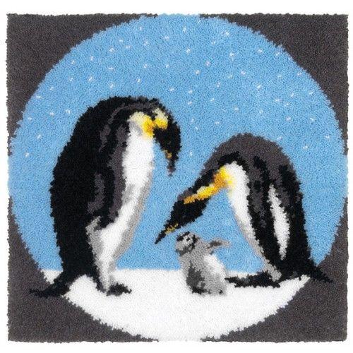 Penguin Family Latch Hook Rug Kit