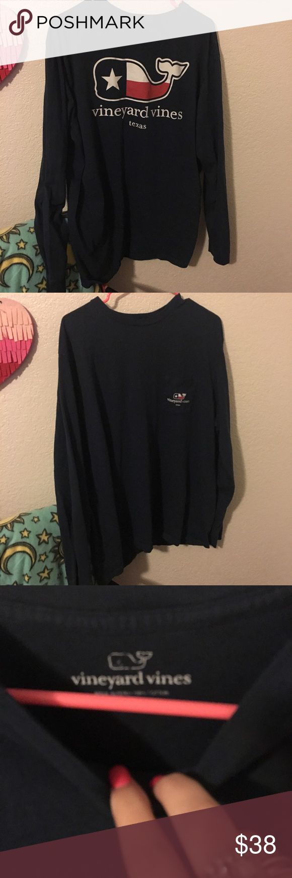 Vineyard Vines Long Sleeve Navy Texas Tee Like new!! Worn a handful of times. No signs of wear. Men's/Unisex XL. Absolutely NO TRADES Vineyard Vines Tops Tees - Long Sleeve