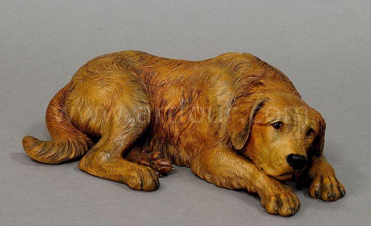 large black forest carving of a st. bernard dog