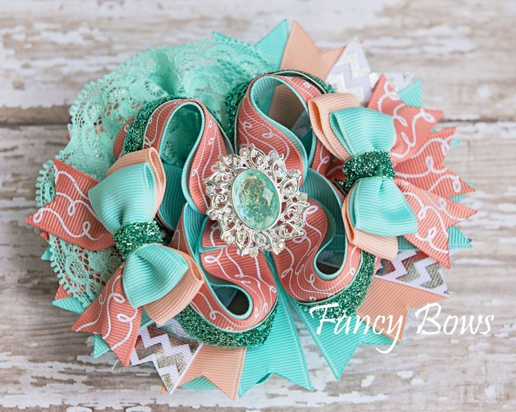 Coral aqua elegance hair bow https://www.facebook.com/TheFancyBows?ref_type=bookmark