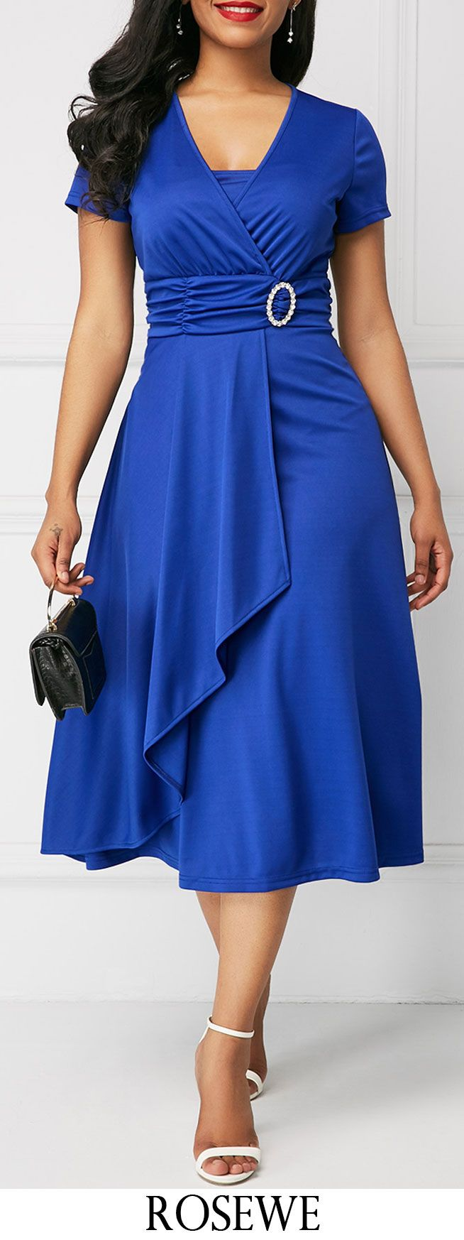Asymmetric Hem V Neck Royal Blue Dress.#Rosewe#dress#blue