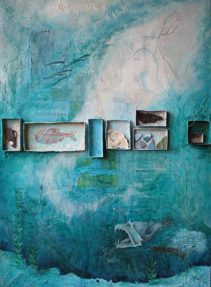 deep sea by Ingrid Peulen mixed media/acryl