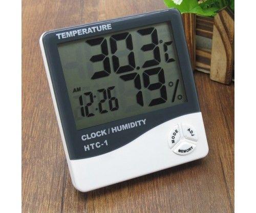 Digitális páratartalom hőmérő - higrométer órával