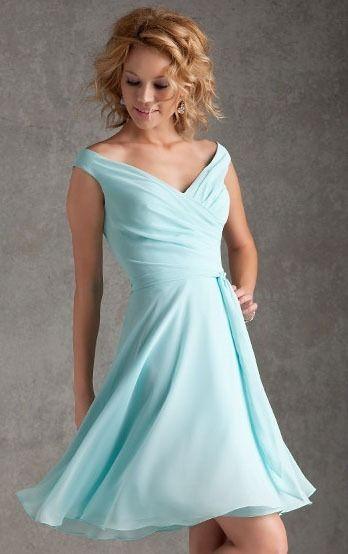 Light Blue Knee Length Ruffles Off Shoulder Beach Bridesamid Dresses UK
