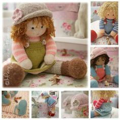 Doll Knitting Pattern Deal/ 4 TEAROOM Dolls and Hats Toy