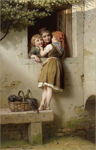 """The Chatterbox"""", by German artist - Johann Georg Meyer von Bremen (1813-1886), Oil on canvas."""