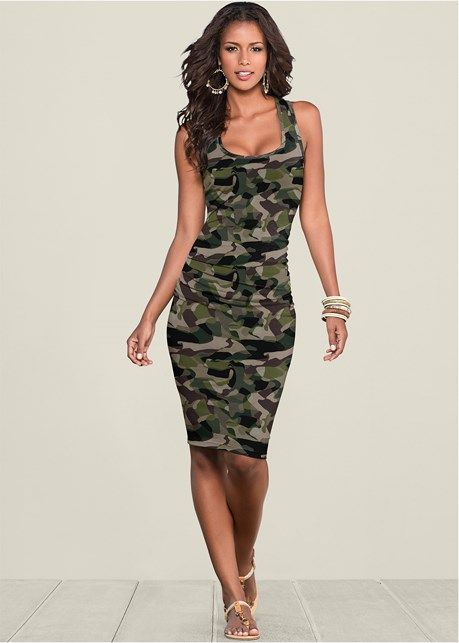 f1abfc85c8d Ruched Tank Dress in Olive Multi