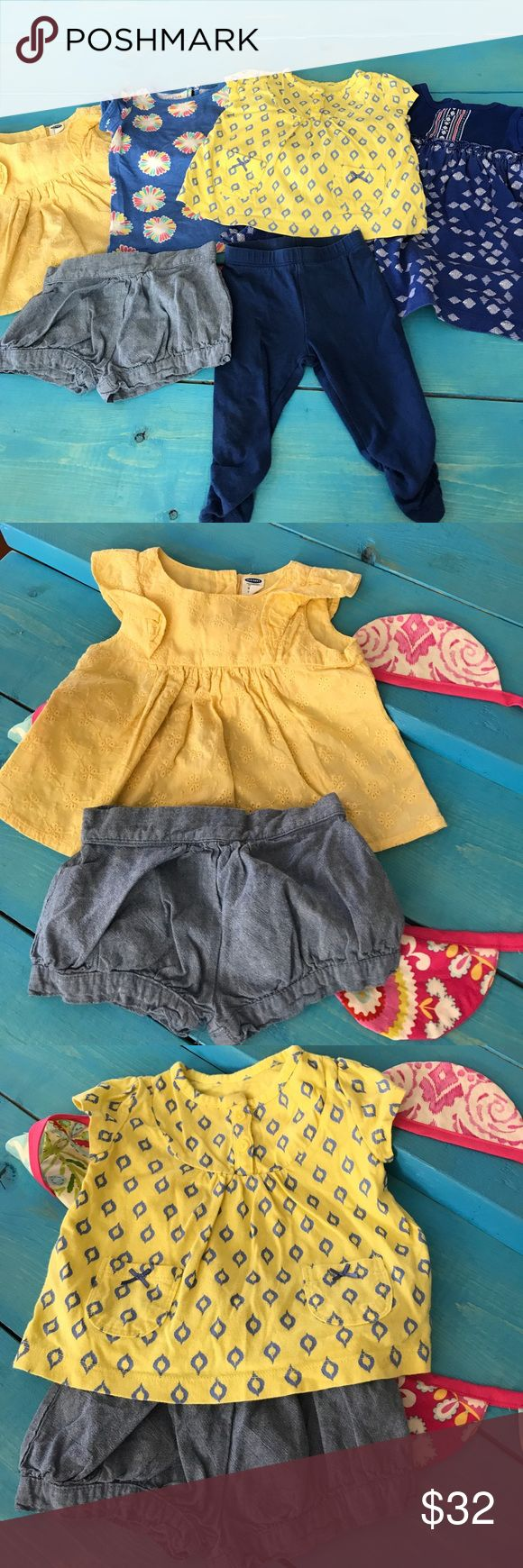 6 Piece Blue and Yellow 6 Month Mix n Match Yellow top with blue diamonds, pockets, buttons and bows is Carters. Blue tunic with Aztec print can be worn as a Dress with Bloomers or shirt with leggings from Carters. Chambray bloomer shorts are Carters. Bright yellow eyelet ruffle blouse is from Old Navy and buttons in the back. Blue gathered leggings are from 1989 Place. Periwinkle Floral tee buttons on back of neck and it's a Tommy Hilfiger. All EUC. No stains or holes. carters Matching Sets