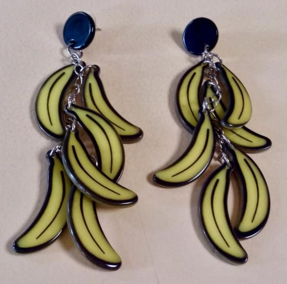 "Round She Goes - Market Place - ERSTWILDER ""Bunch O Bananas"" EARRINGS"