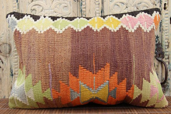Decorative Lumbar Kilim pillow cover 16x24 inches by stripepattern
