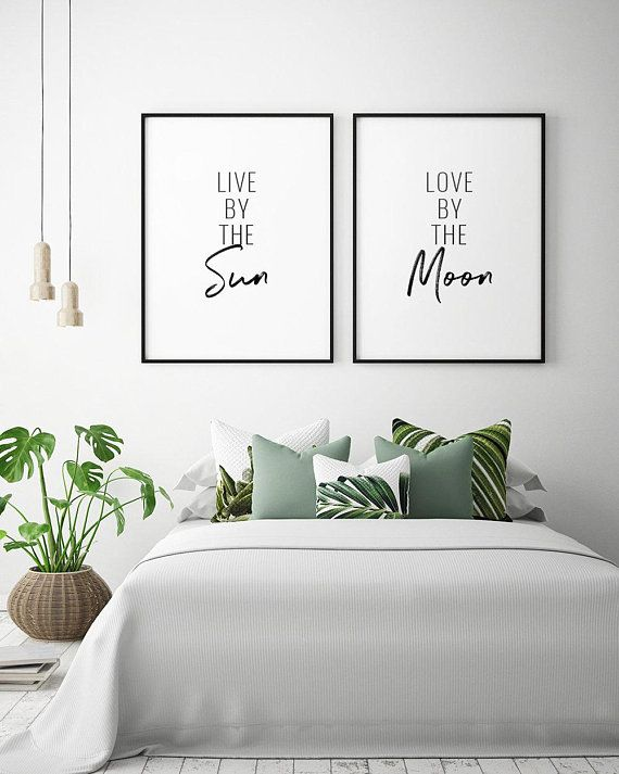 Live By The Sun, Love By The Moon Printable Art (Set of 2) – Sun And Moon Prints, Bedroom Decor, Bedroom Wall Art *Instant Download