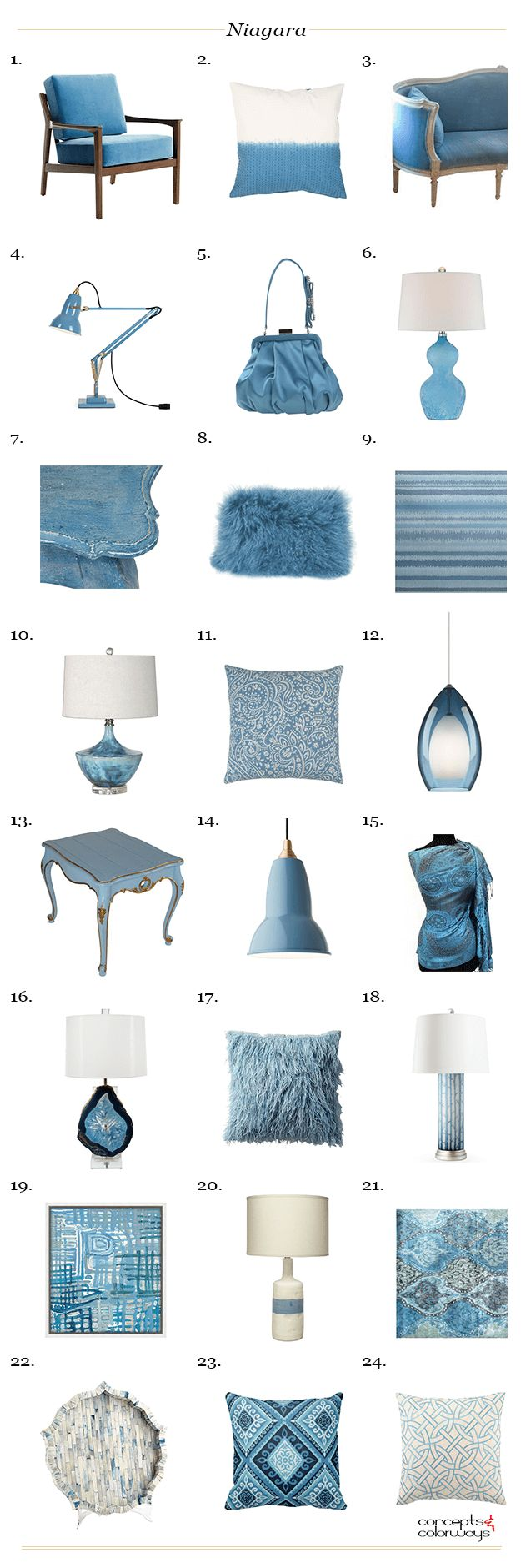 pantone niagara interior design product roundup, get the look, dusty blue, slate blue, smoky blue, denim blue, french blue