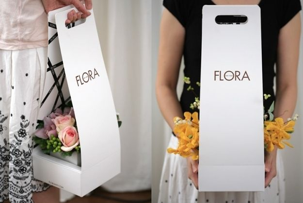 A cool new way to carry your flower arrangement. | 31 Mind-Blowing Examples of Brilliant Packaging Design
