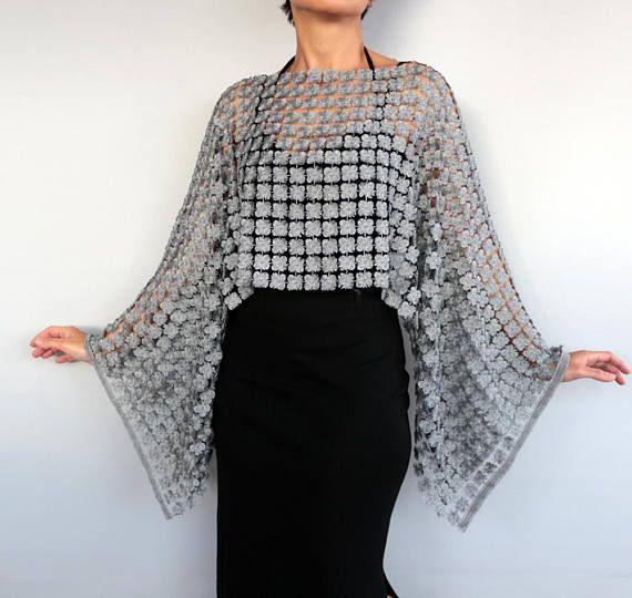 Silver Lace Tunic 3d Embroidery Metallic Gray Shrug Bolero En 2020 Tunica De Encaje Ensambles Ropa Bolero De Encaje