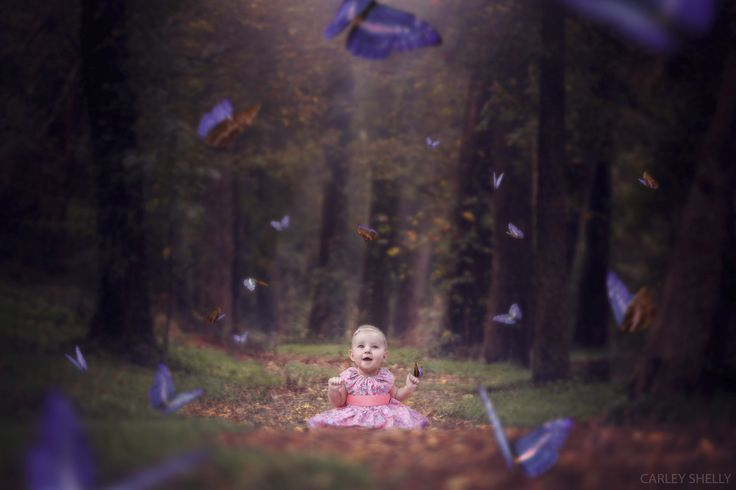 'Butterfly Lane' by Carley Shelly Photography.  baby girl creative composite, digital art, photographic art.