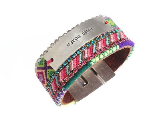 Carpe Diem - friendship bracelet cuff with handstamped text and Swarovski crystal - handstamped jewelry - bohemian gypset style