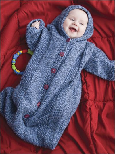 Knitting - Patterns for Children & Babies - Blanket Patterns - Assorted Patterns - Cozy Hooded Sleeping Sack