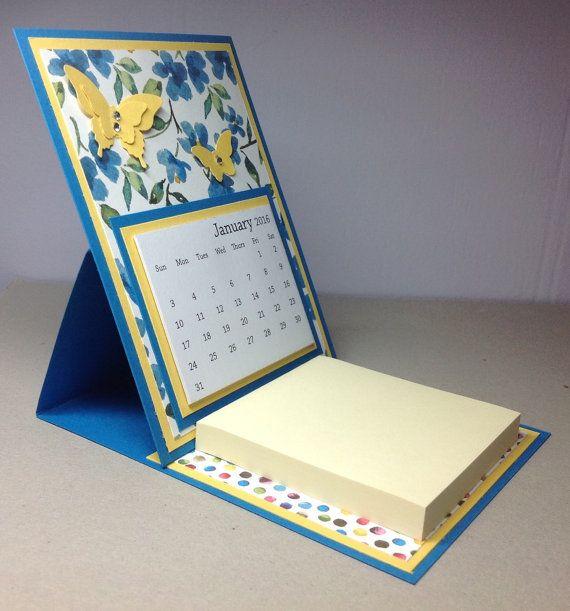 Art Easel Calendar : Butterfly desk easel calendar with post it note pad jenni