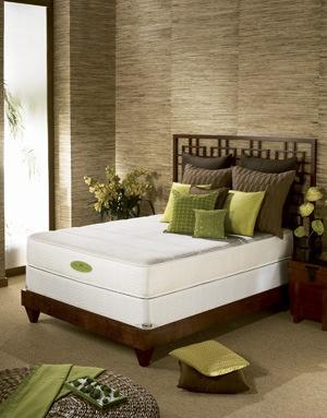 Home spa bedroom look, brown beige and green, natural look