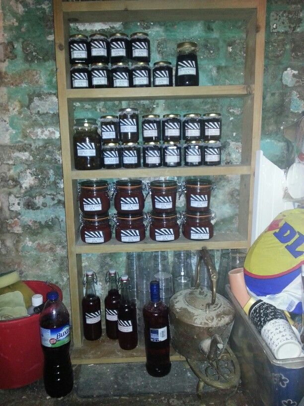 The preserve cellar storage for Jan's, jellies, chutneys and vodkas!