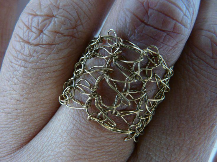 Crochet brass ring /// Crochet bronze  ring /// metal crochet ring /// gold colour crochet ring /// by FlowCrochet on Etsy