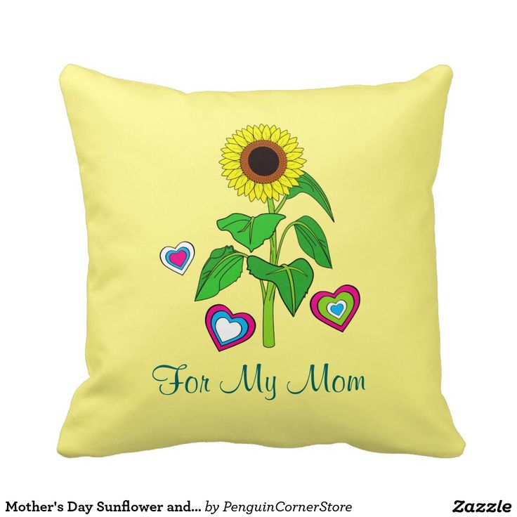 Mother's Day Sunflower and Hearts Pillow