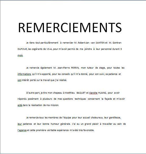 Exemple de remerciements pour son memoire