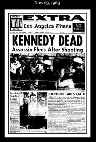 L.A. Times Newspaper article on President Kennedy.  A sad day for America.   :(