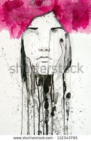 watercolor portrait - stock photo