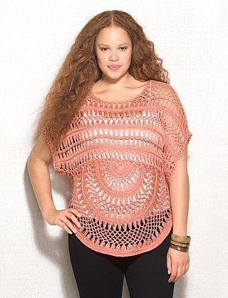 Plus Size Coral Crochet Sweater