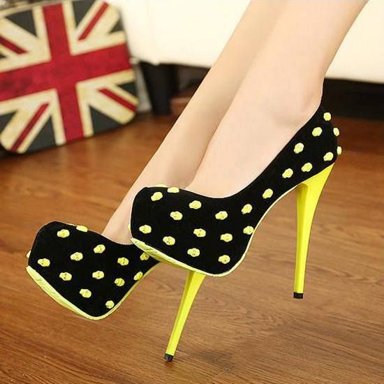 376ab5b6810 High Heel Shoes: Yellow And Black High Heel Shoes