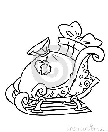 Sleigh Christmas Gifts Coloring Page Contour Illustration