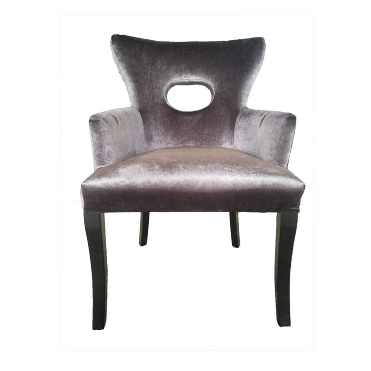 EVA DINING/CASUAL CHAIR IN BROWN VELVET - Dining Chairs Online Australia ------ The Eva chair upholstered in Chocolate brown velvet can be used either as a dining chair or occasional chair. Very attractive, it can also be used in an entrance hall next to a console table.