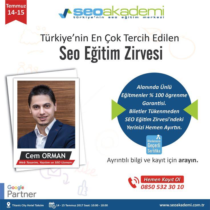 14 - 15 Temmuz 2017 tarihlerinde SEO Akademi'nin düzenlemiş olduğu SEO Eğitim Zirvesi'nde Tasarım Optimizasyonu ve Mobil SEO Eğitimi vereceğim. Kayıt olmak için: www.seoegitimzirvesi.com www.cemorman.com.tr