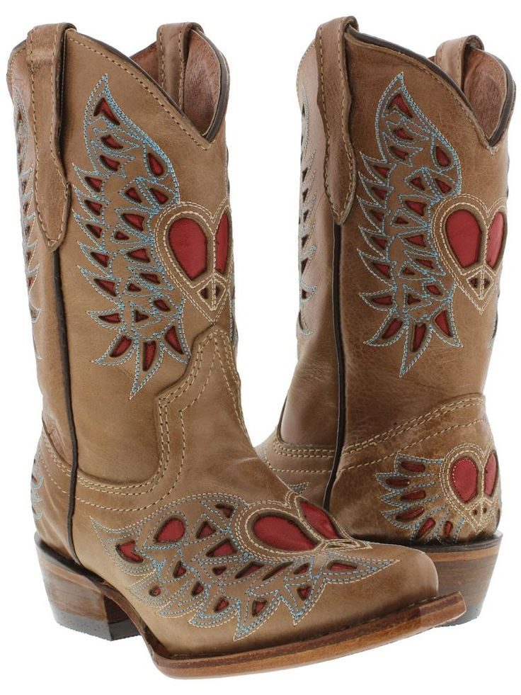 kids girls toddlers brown cowgirl boots leather western cowboy rodeo red heart #Veretta #Boots