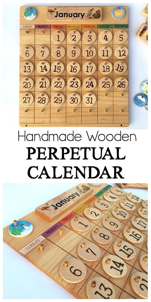 Homemade Wooden Perpetual Calendar For Families And Kids Great For