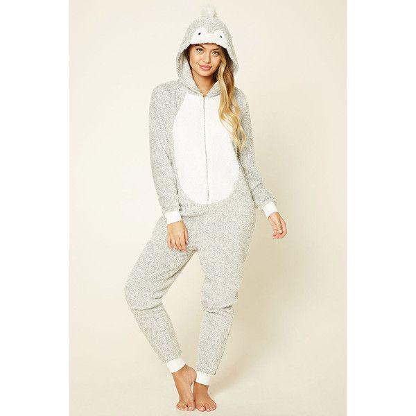 Forever21 Penguin Plush PJ Jumpsuit (94 BRL) via Polyvore featuring jumpsuits, hooded jumpsuit, forever 21 jumpsuit, long sleeve jumpsuit, white long sleeve jumpsuit e jump suit