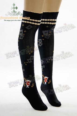 Alice Lolita Mr.Bunny & Poker & Star High Thick Stockings*Black