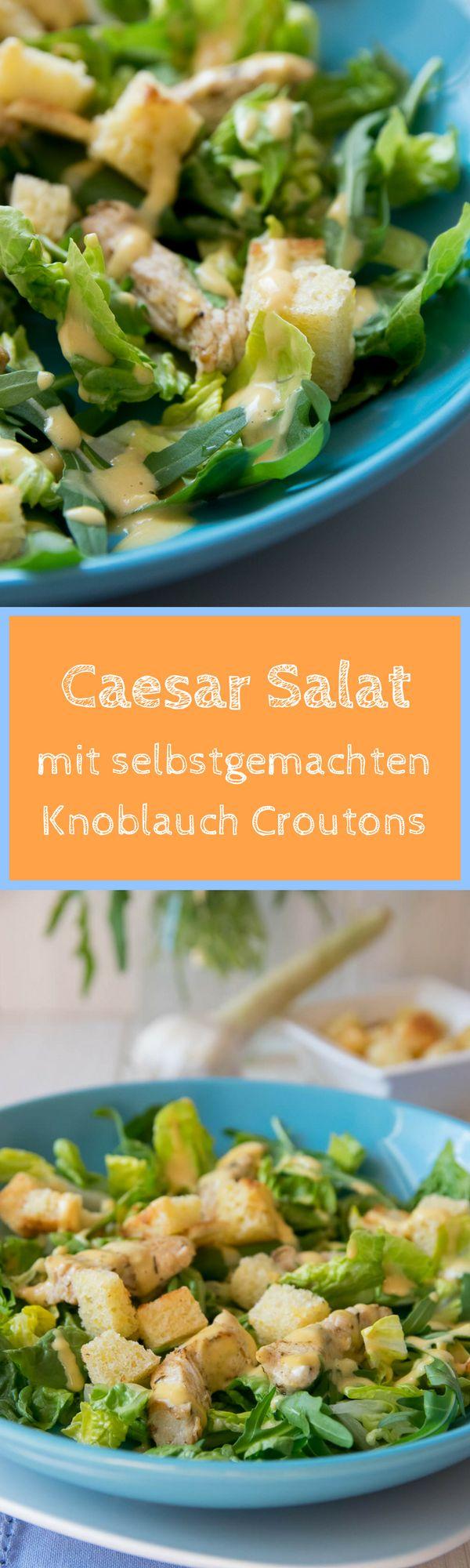 Super leckerer Salat mit Caesar Dressing und selbstgemachten Knoblauch Croutons