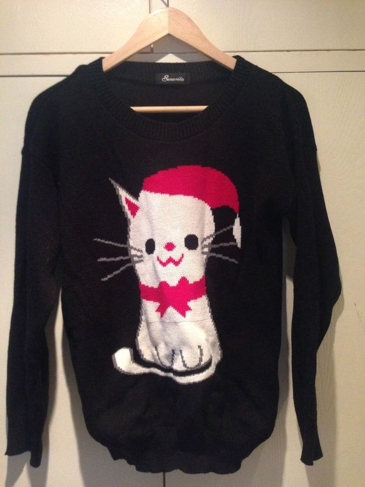 Women's Christmas Jumper Size 8 Cat in Clothes, Shoes & Accessories, Women's Clothing, Jumpers & Cardigans | eBay