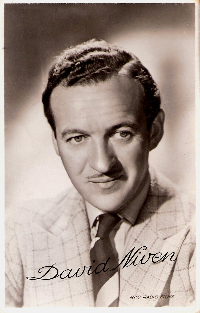 British Academy Award-winning actor David Niven (1910-1983) impersonated the archetypal English gentleman, witty, naturally charming, immaculate in dress and behaviour, but he also had a dash of light-hearted sexual roguishness.
