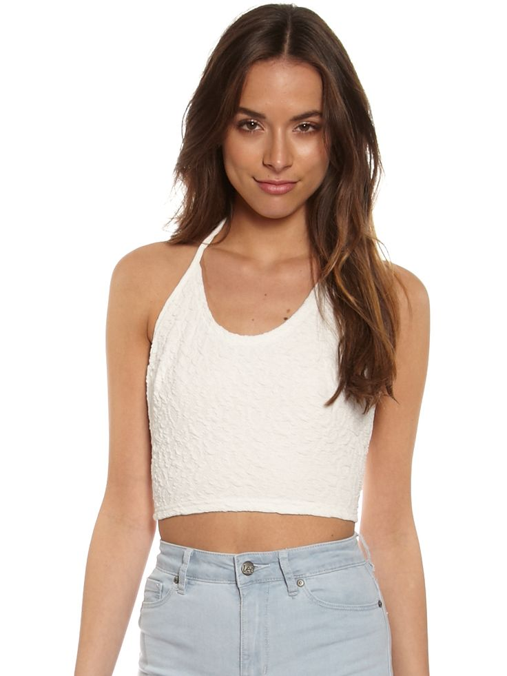 Lee Hold Me Close Halter Cami in White Light NEW
