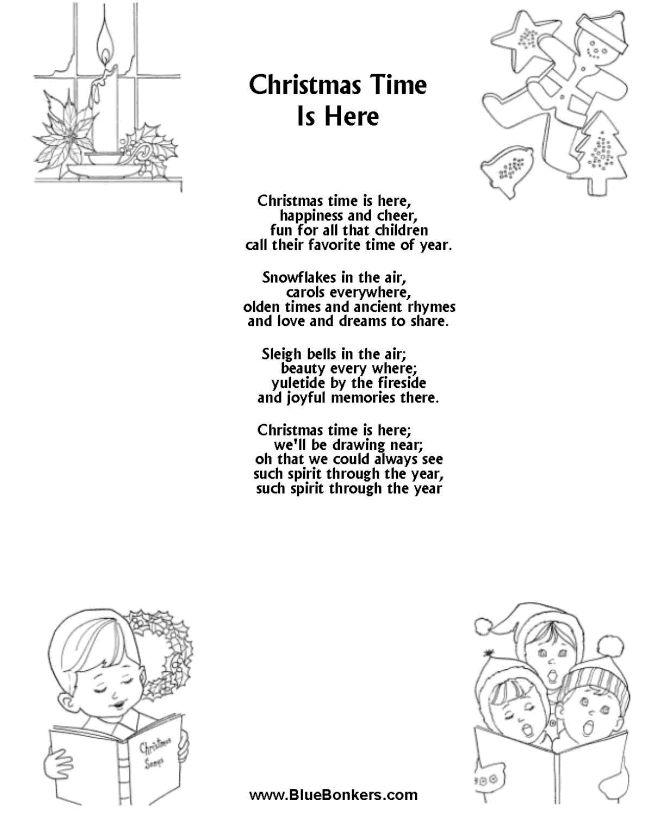 Printable Christmas Carol Lyrics sheet Christmas Time is