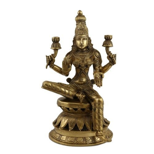 Amazon.com: Lakshmi Goddess Statue And Sculpture Art Religious; Brass; 6.25 X 6.25 X 12 Inches: Home & Kitchen