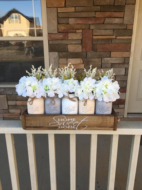 mason jar planter centerpiece, mason jar planter box, farmhouse decor, rustic centerpiece, wedding decor, 5 jar planter box, mason jar decor