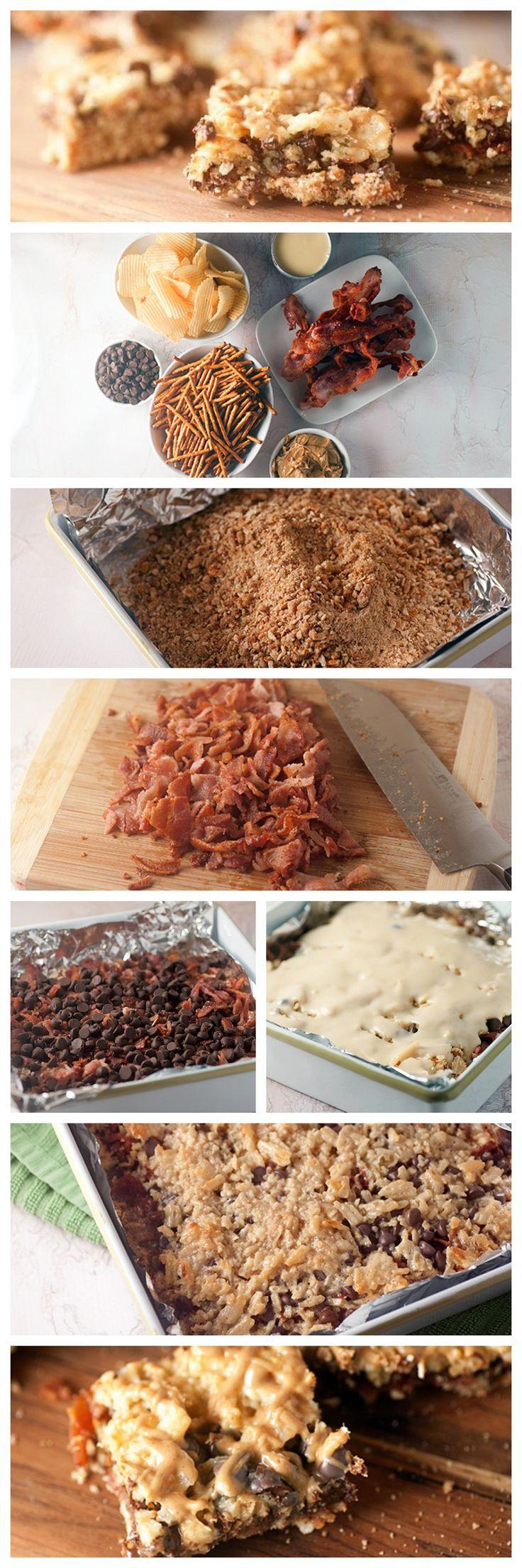 Bacon Chocolate Couch Potato Bars #bacon #chocolate